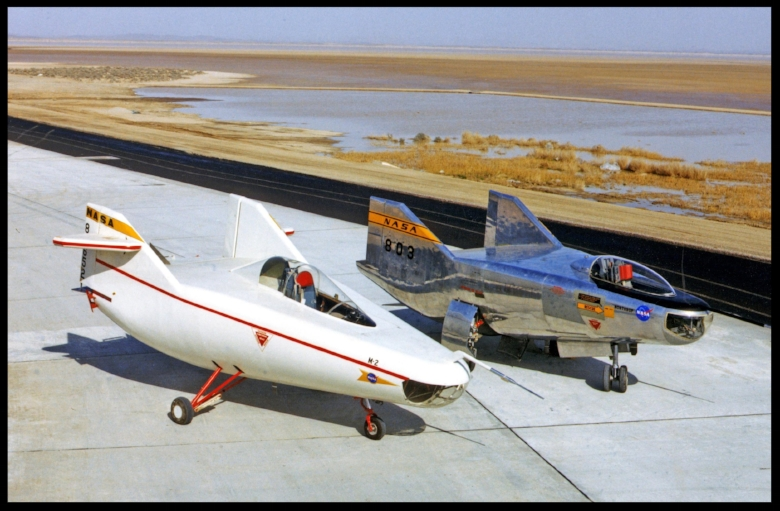 After the M2-F1 (left) proved the lifting-body concept, NASA and the Air Force began work on a series of heavyweight, rocket-powered lifting bodies able to reach supersonic speeds and altitudes up to 90,000 feet. The M2-F2 (on the right) was the first of these heavyweights. More here...  Credits: NASA Photo