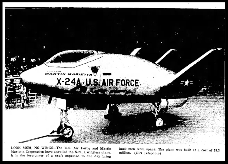 Air force X-24. Ames Daily Tribune Tue Jan 3, 1967.