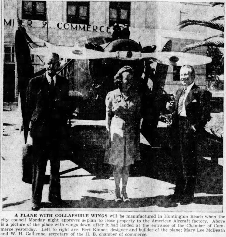 Above- Santa Ana Register Sat. Sep. 14,1940. Bert Kinner in Huntington Beach, CA.