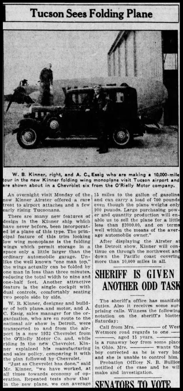 "Above- ""Tuscon Sees Folding Plane"". Sunday, April 3, 1932. Arizona Daily Star."