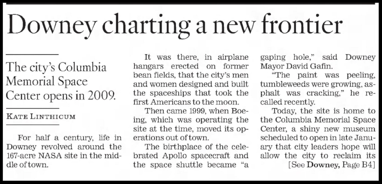"""Downey, Charting a New Frontier"". The Los Angeles Times Fri. Nov 28 2008. Part 1."
