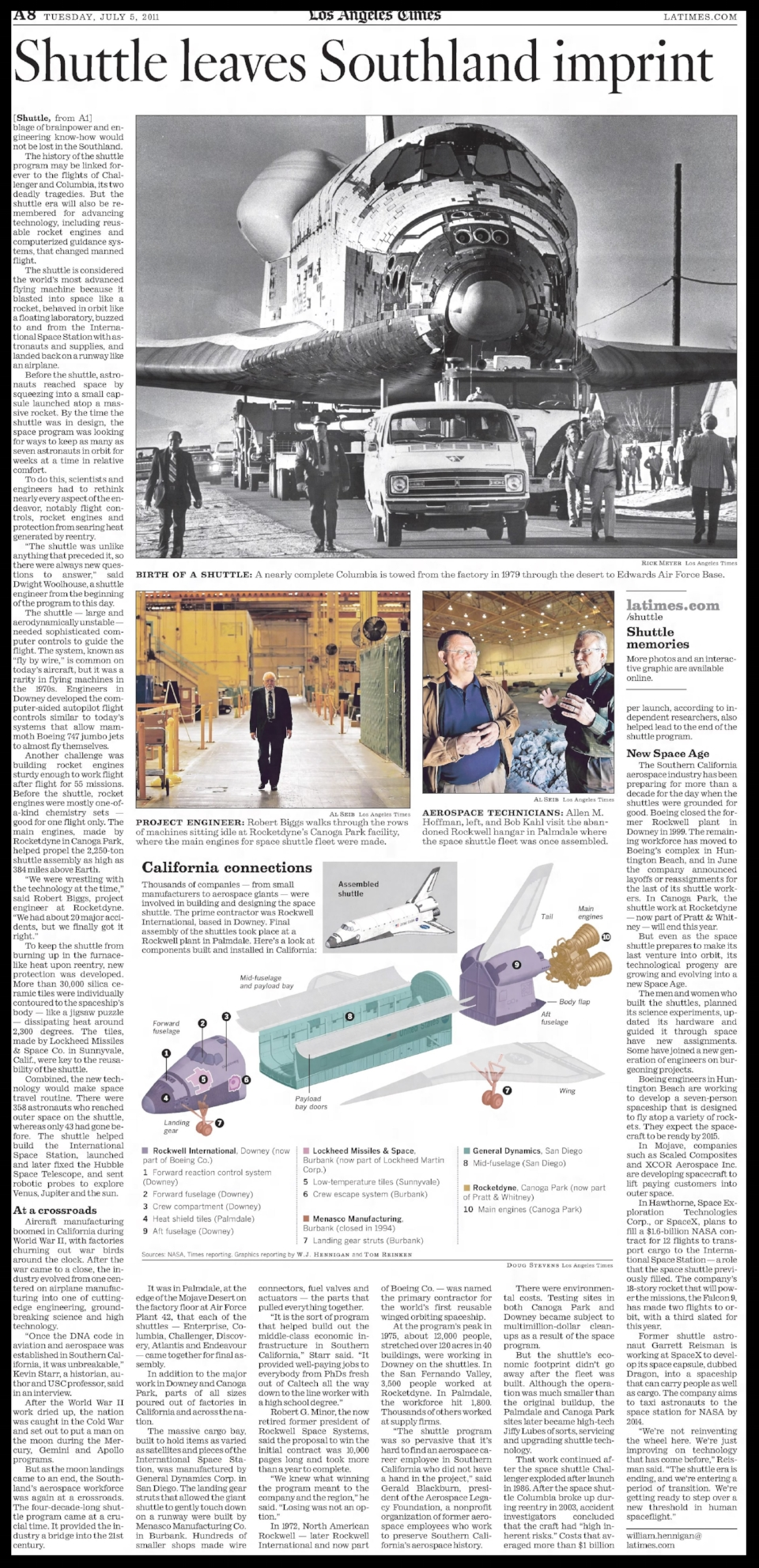 """Shuttle Leaves Southland Imprint"""" . The Los Angeles Times Tuesday July 5, 2011."""