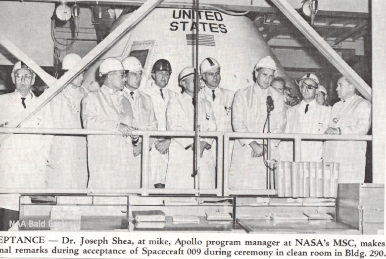 NAA Skyriter 1965- Joe Shea visits North American Aviation's Space Division at Building 290.