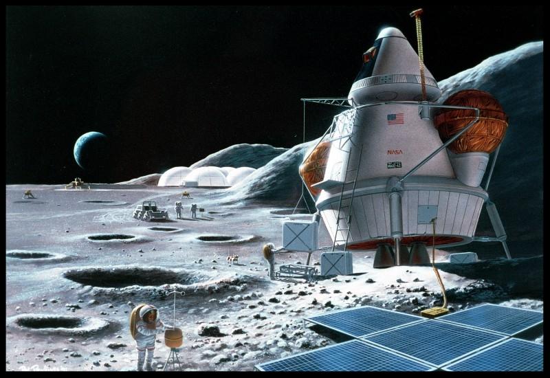 Lunar base concept, 1995.  Image credit Pat Rawlings NASA