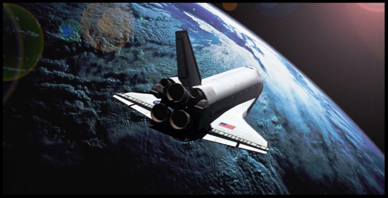 Shuttle artwork by Adrian West.