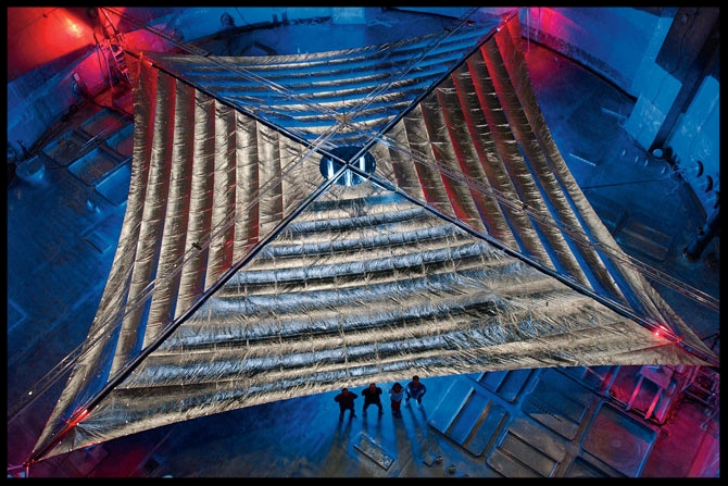 This 3,400-square-foot Mylar solar sail was tested in 2005 in a vacuum chamber at NASA's Plum Brook Station in Sandusky