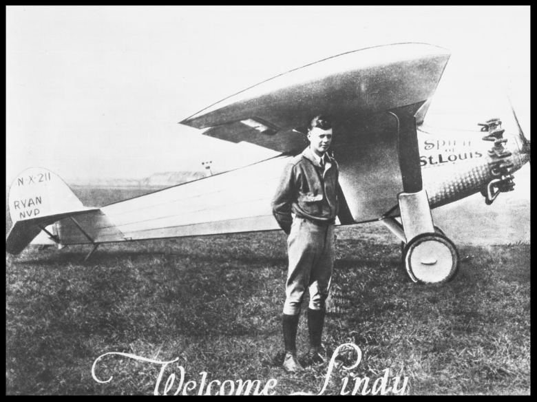 Portrait of Charles Lindbergh and his plane,The Spirit of St. Louis, ca.1925. Image- California Historical Society