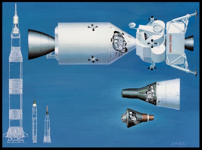 NASA_spacecraft_comparison NASA illustration comparing boosters and spacecraft from Apollo (biggest), Gemini and Mercury (smallest)..jpg