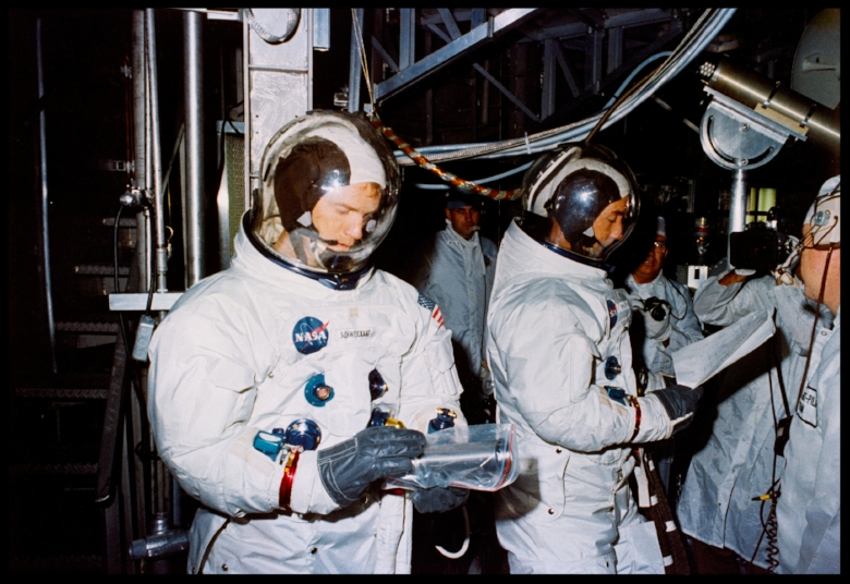 Crew training. Altitude chamber test runs #3 and #4 with Apollo 9 prime and backup crews in the MSOB, KSC. Image- NASA