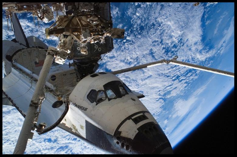 Space Shuttle Endeavour in orbit.