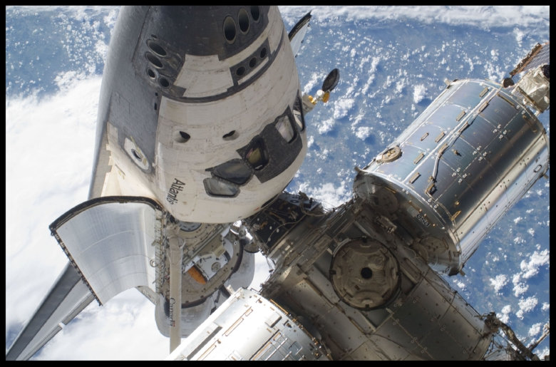 Space Shuttle Atlantis docked to International Space Station.