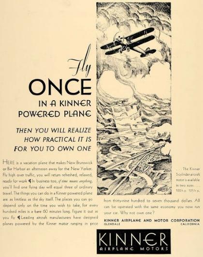 Above- Kinner Airplane Motors ad