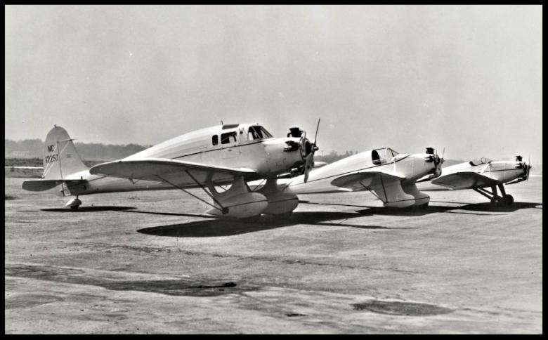"Above- First 3 planes built by Kinner: L-R Model P for Robert Porter and Wife (Porter Ranch). Model R-1 for Dr. Ross Sutherland model K ""Sportster"" in 1933"
