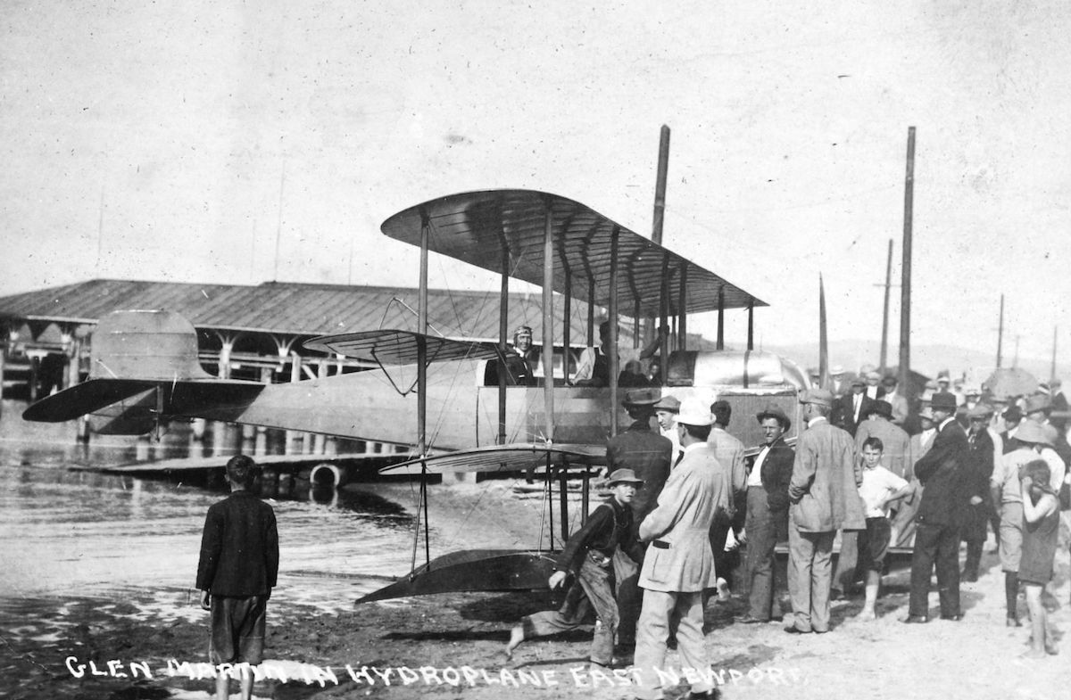 Glenn Martin in his 1911 hydroplane at Newport Bay, Los Angeles. He would take a similar plane to the 1911 International Air Show in Chicago