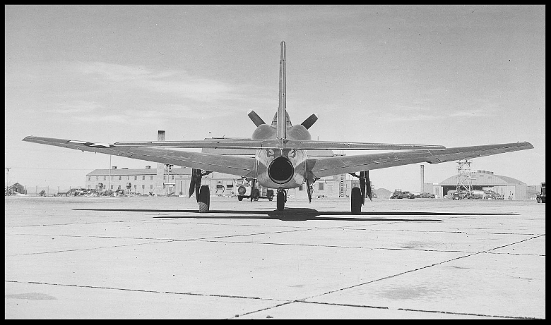 Above- Ground view XP-81 serial number 44-91000 from the back. This shows the jet engine exhaust.  Image- Westin's Consolidated Photo Page