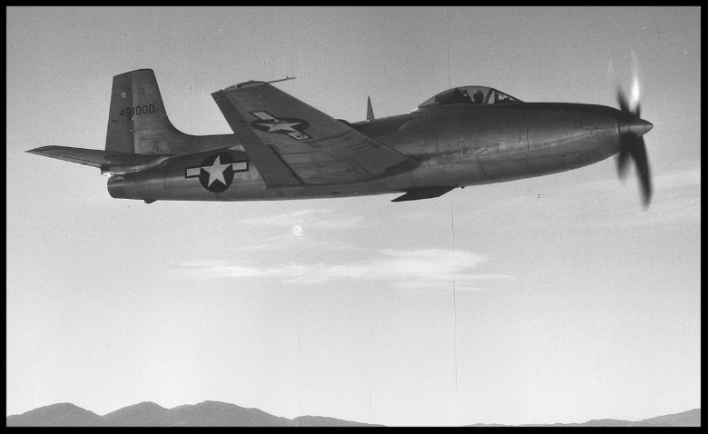 Above- The XP-81 was the first U.S. propeller turbine engined airplane.  Westin's Consolidated Photo Page