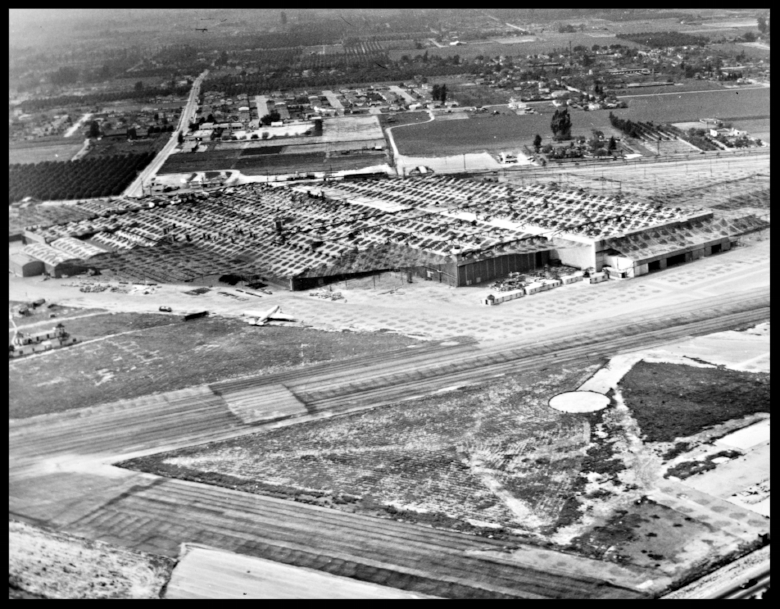 Vultee Downey plant in camouflage during WWII- 1940's.facing Alameda St. at Lakewood Blvd.,from Bellflower Blvd.