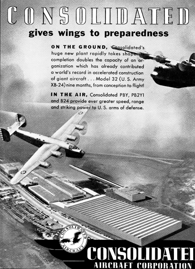 Above- Consolidated Aircraft Corporation ad from the 1940's.