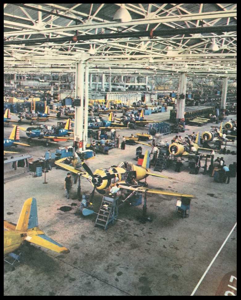 The final assembly lines at Vultee Aircraft in Downey, CA. 1940's