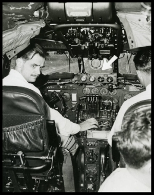 Above- Photograph of Howard Hughes demonstrating a radar safety device May 1 1947.