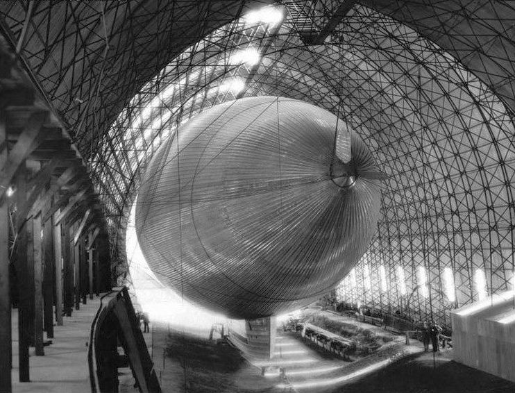 1928 interior view of the Slate dirigible inside its hangar at Glendale Airport..jpg