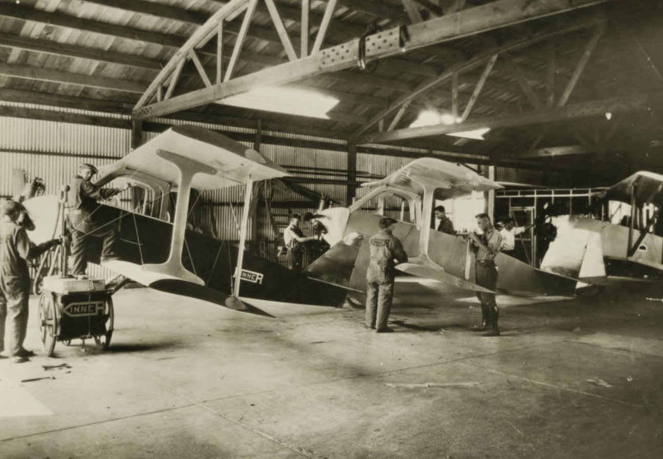 Unfinished planes at Kinner Aircraft Company's plant, ca.1930 glendale.jpg
