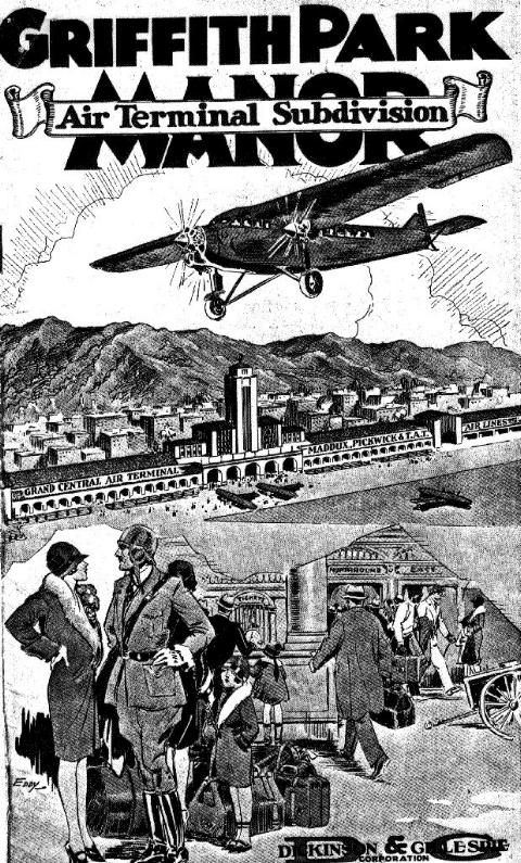 Above- Griffith Park Manor announcement (c1929).