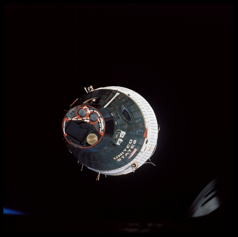 Gemini 7 spacecraft was taken from the hatch window of the Gemini 6 spacecraft during rendezvous and station-keeping maneuvers 1965.jpg