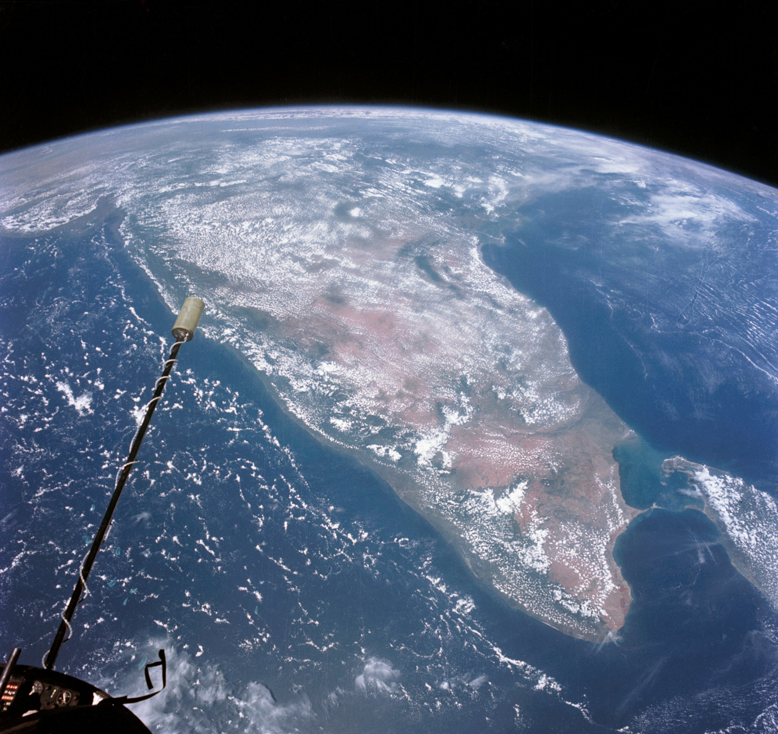 Photograph of India-Ceylon looking north; Arabian Sea and Bay of Bengal; Altitude 400; taken during the Gemini XI mission 1966