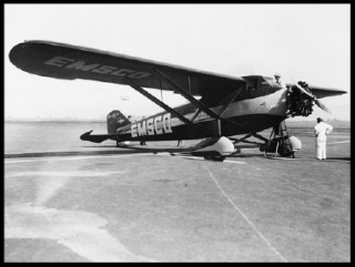 This is the specially-built monoplane Emsco, in which Ted S. Lundgren, Hollywood, Calif., pilot, will attempt to fly around the world in 15 days.jpg