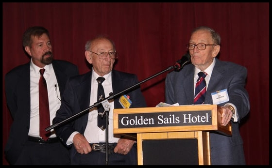 Ed Rusinek (right) speaks humble words of praise for the North American Bald Eagles group during their last luncheon.