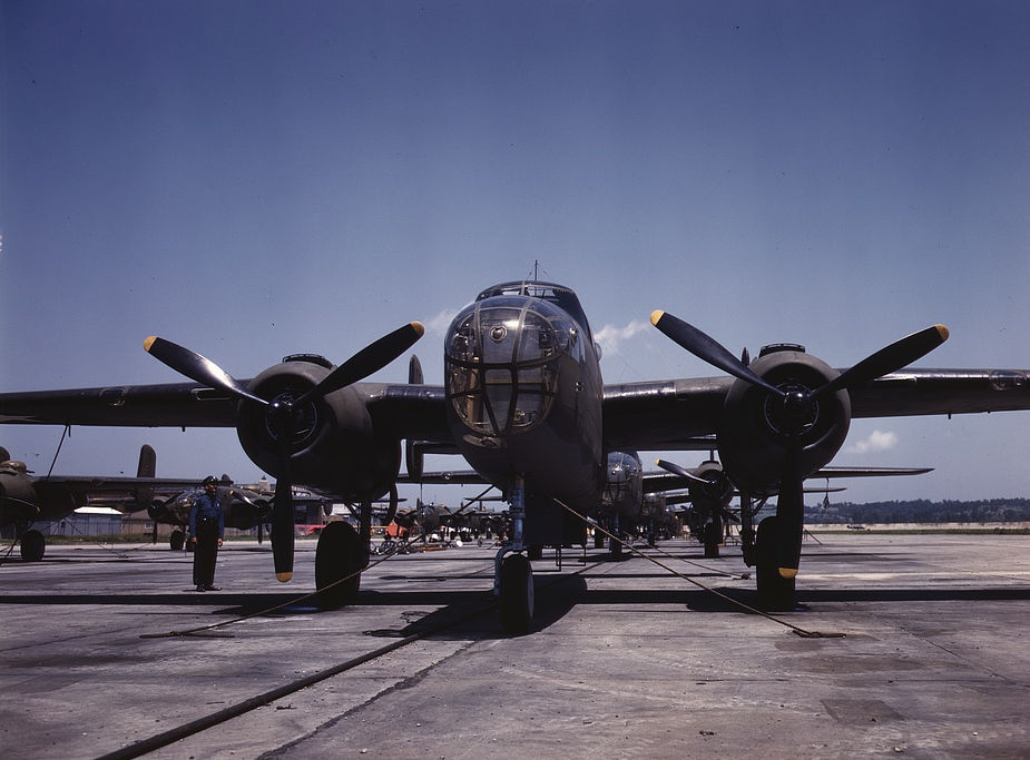 B-25 bombers lined up at North American Aviation, Incorporated