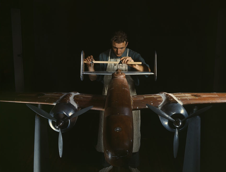 An experimental scale model of the B-25 plane is prepared for wind tunnel tests in the plant of North American Aviation, Inc., Inglewood, Calif. plant produced the B-25 bomber 1942