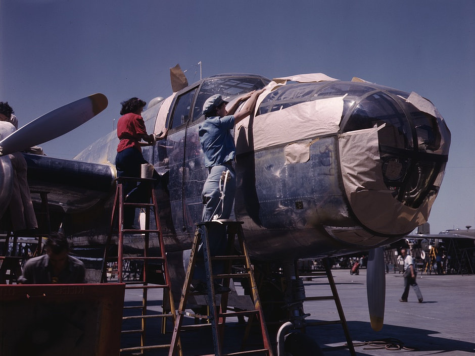 North American B-25 bomber is prepared for painting on the outside assembly line, North American Aviation, Inc., Inglewood, Calif. 1942