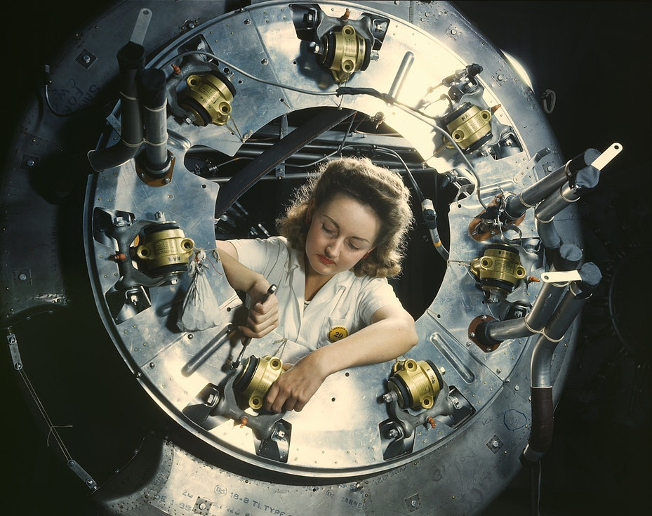 Part of the cowling for one of the motors for a B-25 bomber is assembled in the engine department of North American [Aviation, Inc.]'s Inglewood, Calif., plant 1942 a