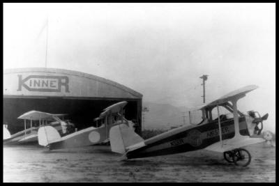 Above- Glendale Municipal Airport. Kinner hangar in 1922.