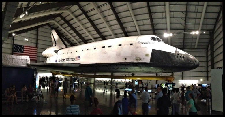 Above: Space Shuttle Endeavour in Los Angeles and the California Science Center. Image- Larry Latimer