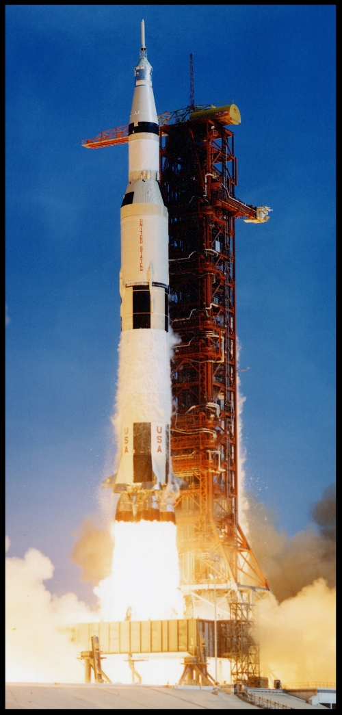 Above- Lift-off of the Saturn V rocket, carrying astronauts Neil Armstrong, Michael Collins, and Edwin Buzz Aldrin Jr, along with 6,700,000 pounds.