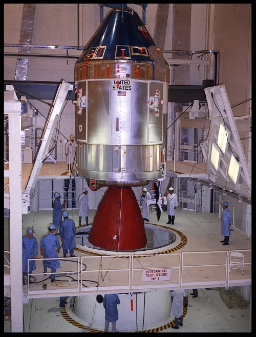 Above- CSM-107 being assembled to the SA-506 Saturn V in the Vehicle Assembly Building, April 1969.