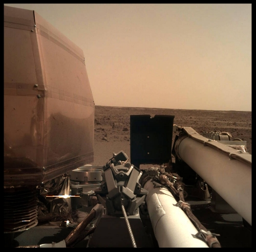 Above- The Instrument Deployment Camera (IDC), located on the robotic arm of NASA's InSight lander, took this picture of the Martian surface on Nov. 26, 2018, the same day the spacecraft touched down on the Red Planet. NASA/JPL