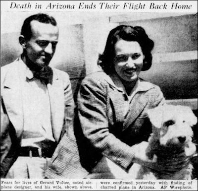 Democrat and Chronicle Mon Jan 31 1938 Death in Arizona Vultee
