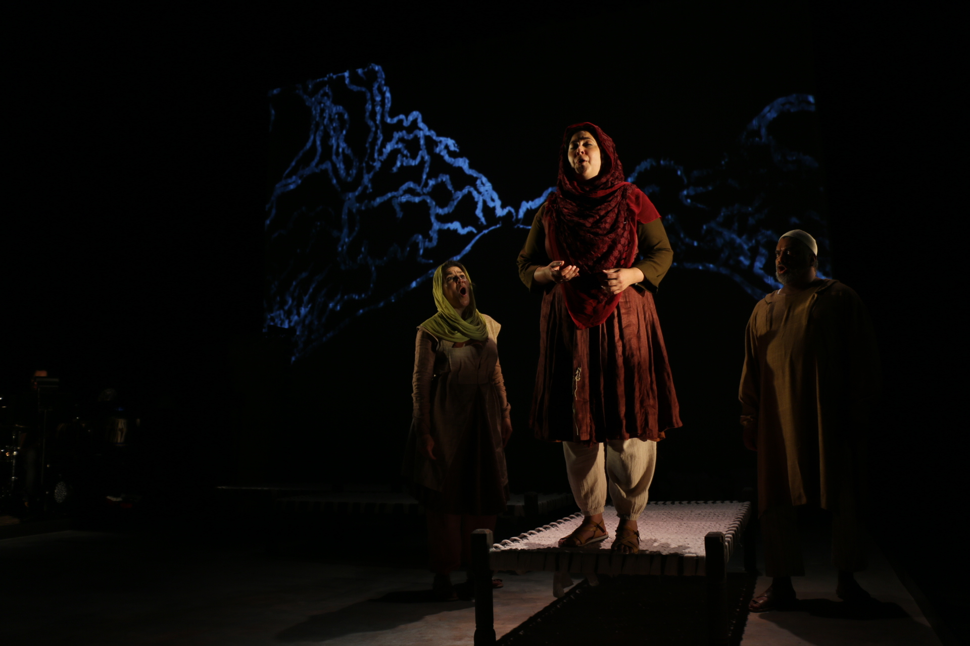 """Kamala Sankaram at rehearsal in the Redcat Theatre. She is the composer and the star of the opera """"Thumbprint."""" Photo credit: Adriana Cargill"""