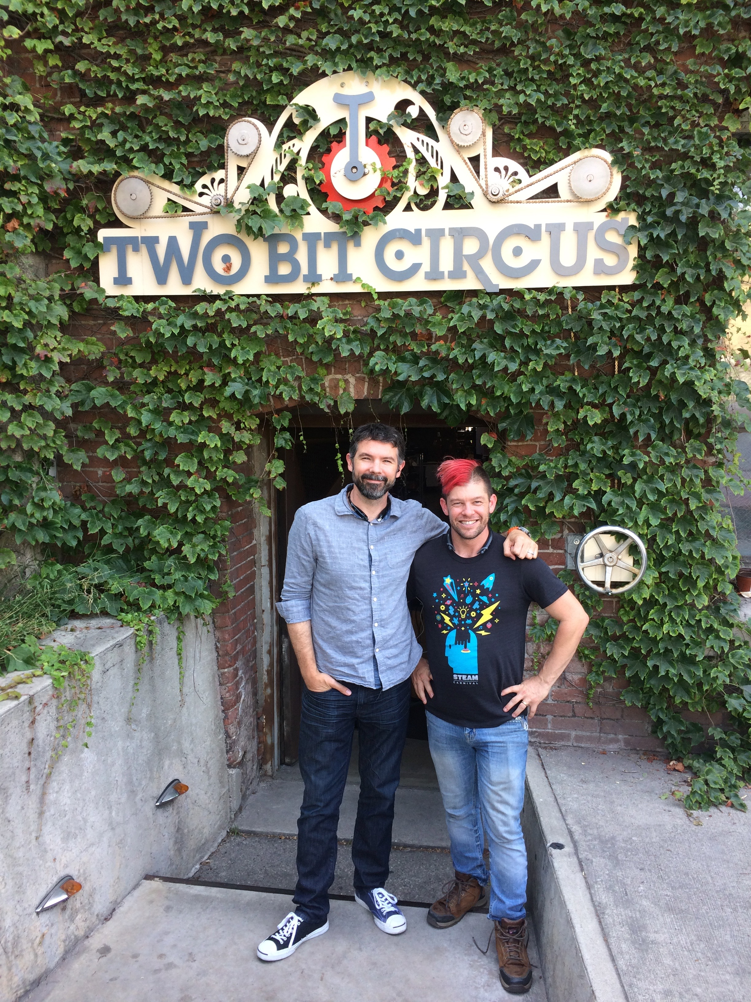 Two Bit Circus founders Brent Bushnell and Eric Gradman outside of the companies headquarters in Brewery Arts Complex in Los Angeles.