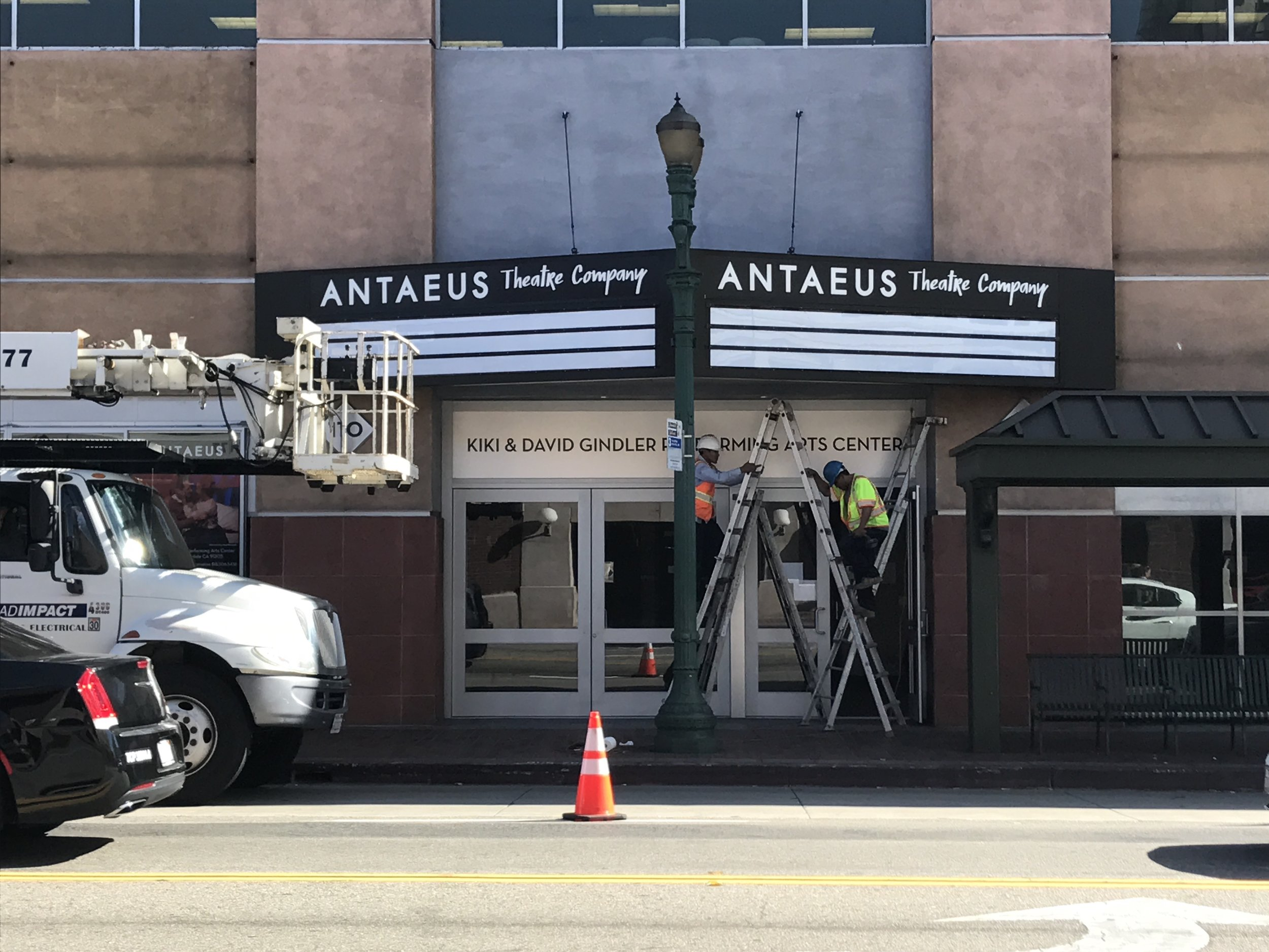 Workers putting the final touches on Antaeus Theatre's marquee. Photo credit: Ana Rose O'Halloran
