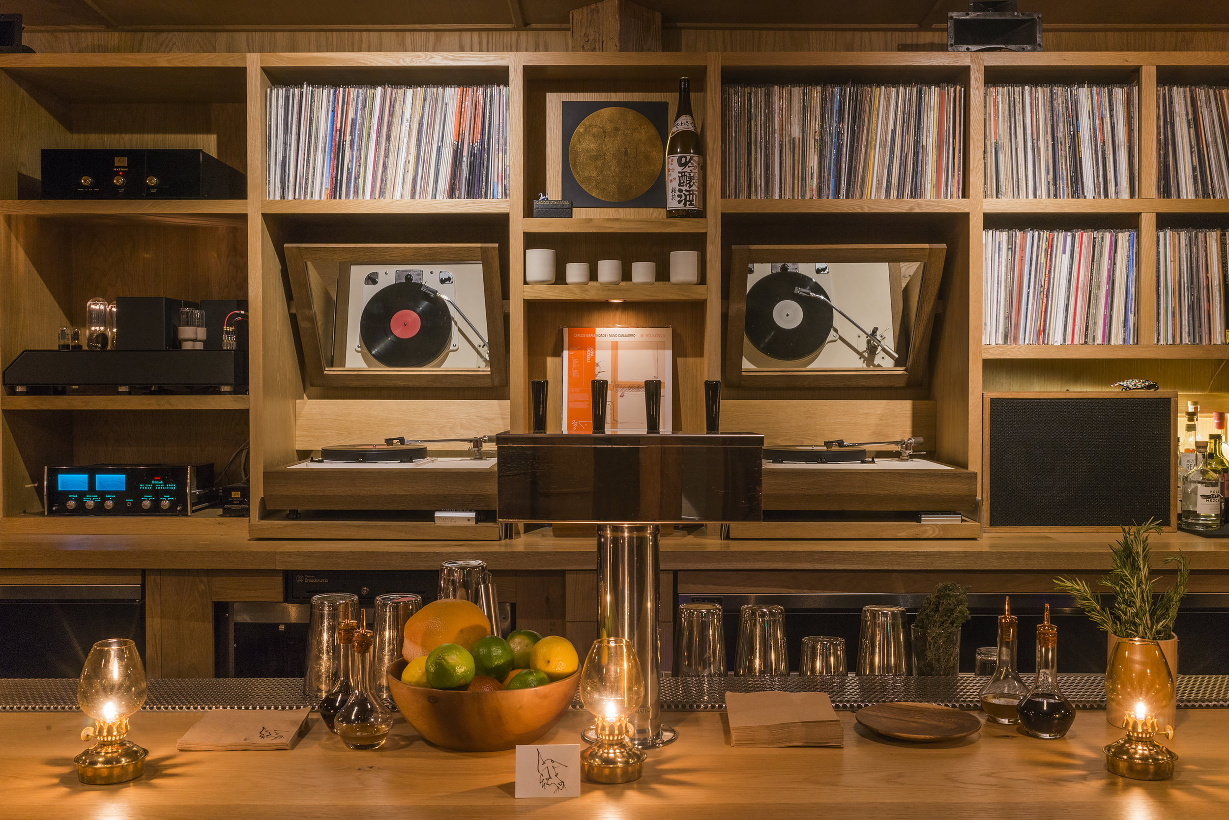 Instead of a wall of alcohol bottles, the bar In Sheep's Clothing proudly shows off its vinyl collection.Photo credit: Jersey Walz
