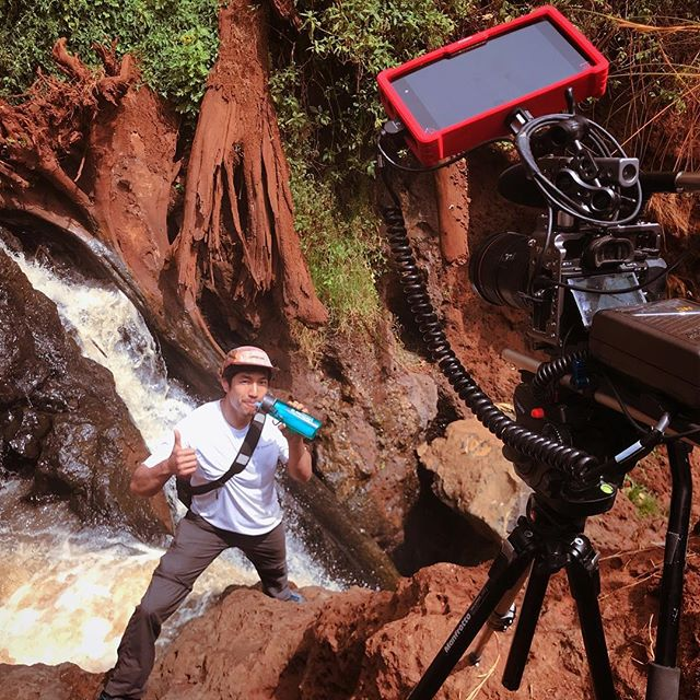 Filming for @lifestraw means getting to go see some waterfalls, remote villages, and of course amazing kids in western Kenya. Here's the set up with me drinking from this waterfall.