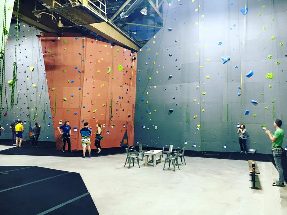 ROKC is a new rock climbing gym located in an industrial building in North Kansas City. It has the largest rock climbing walls in the Midwest.