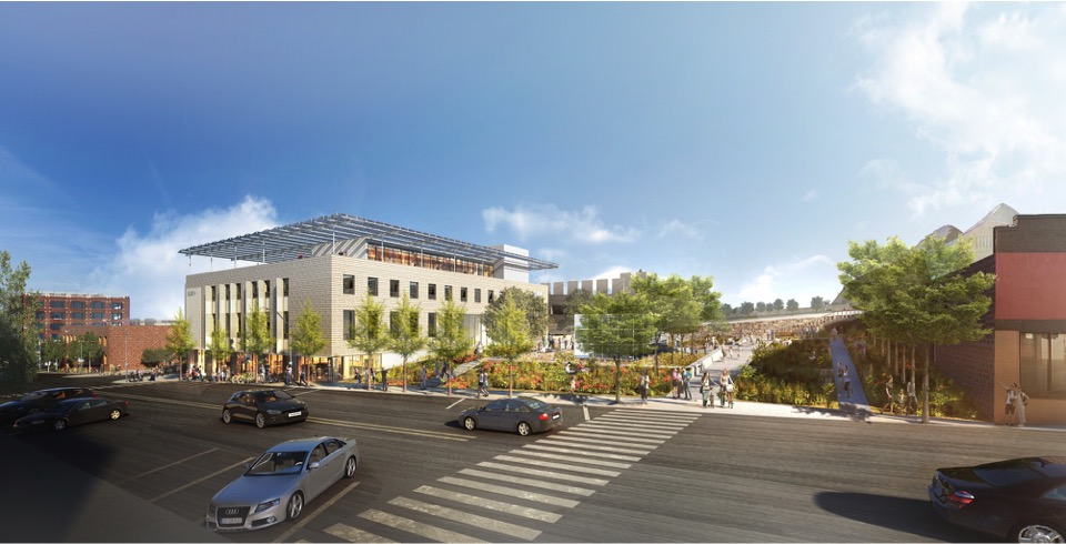BNIM's plan for 1640 Main included a community park that would showcase different aspects of sustainable design.