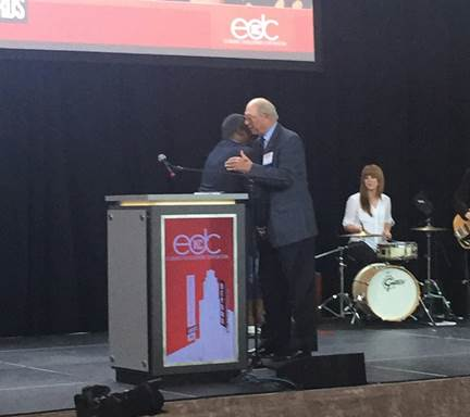 Mayor Sly James presented Ollie Gates with the 2016 EDCKC Cornerstone Lifetime Achievement Award on May 11, 2016, at Union Station.