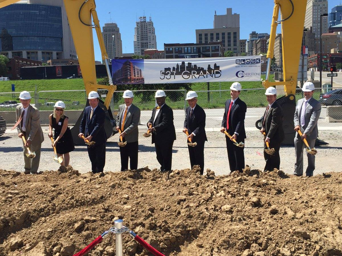 Officials break ground on 531 Grand in the River Market last week.
